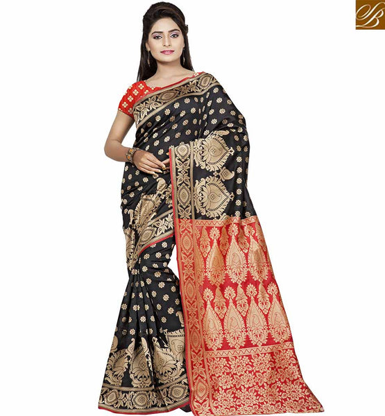 STYLISH BAZAAR MARVELLOUS BLACK AND RED SAREE WITH DESIGNER BLOUSE VDBNS10706