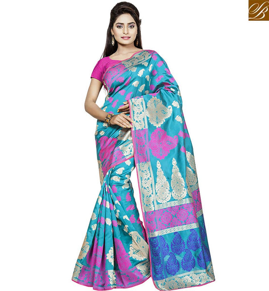 STYLISH BAZAAR LOVELY BLUE AND PINK ART SILK SAREE WITH BLOUSE VDBNS10707