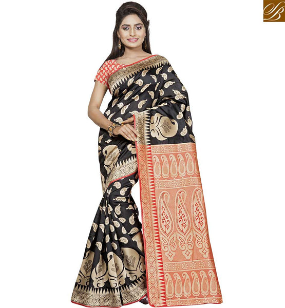 STYLISH BAZAAR SPLENDID BLACK AND ORANGE COLORED ART SILK SAREE VDBNS10708