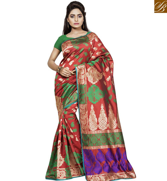 STYLISH BAZAAR ATTRACTIVE RED AND GREEN COLORED DESIGNER BANARASI SAREE VDBNS10709