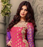 "HIT BOLLYWOOD MOVIE ""FALTU"" FAME PUJA GUPTA LOVELY DRESS PINK AND VIOLET DESIGNER VISCOSE BUTTI SHALWAR KAMEEZ WITH DUPATTA"