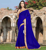 FASHION SAREES ONLINE DAILY WEAR COLLECTION  OUT-STANDING DARK BLUE CHIFFON MATERIAL SAREE AND BLOUSE
