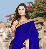 OUT-STANDING DARK BLUE CHIFFON MATERIAL SAREE AND BLOUSE  REMARKABLE DAILY WEAR SAREE-CHOLI COMBINATION FROM STYLISH BAZAAR