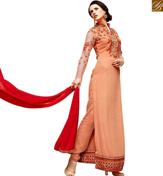 STYLISH BAZAAR GLAMOROUS ORANGE & RED COLORED INDIAN DESIGNER SUIT VDSHB10714