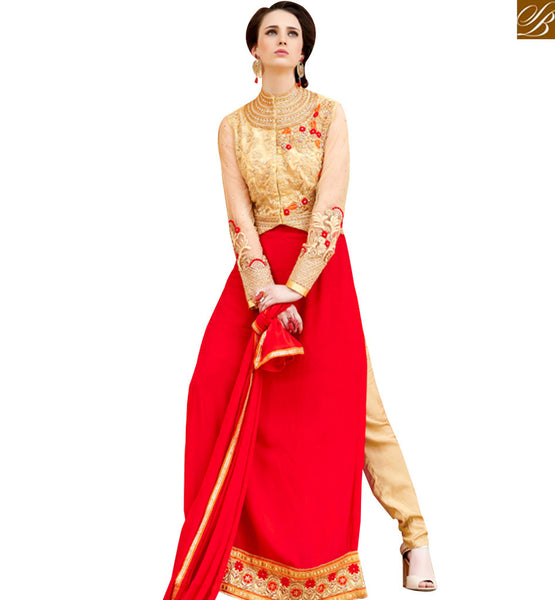 STYLISH BAZAAR RICH LOOKING BEIGE AND RED COLORED INDIAN NAJNEEN SUIT VDSHB10715