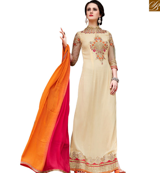 STYLISH BAZAAR GORGEOUS BEIGE & MULTI COLORED NAJNEEN SALWAR SUIT VDSHB10716