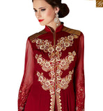 A STYLISH BAZAAR PRESENTATION SPLENDID MAROON & BEIGE COLORED PURE DESIGNER SUIT VDSHB10717