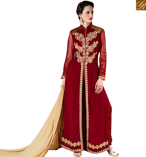 STYLISH BAZAAR SPLENDID MAROON & BEIGE COLORED PURE DESIGNER SUIT VDSHB10717