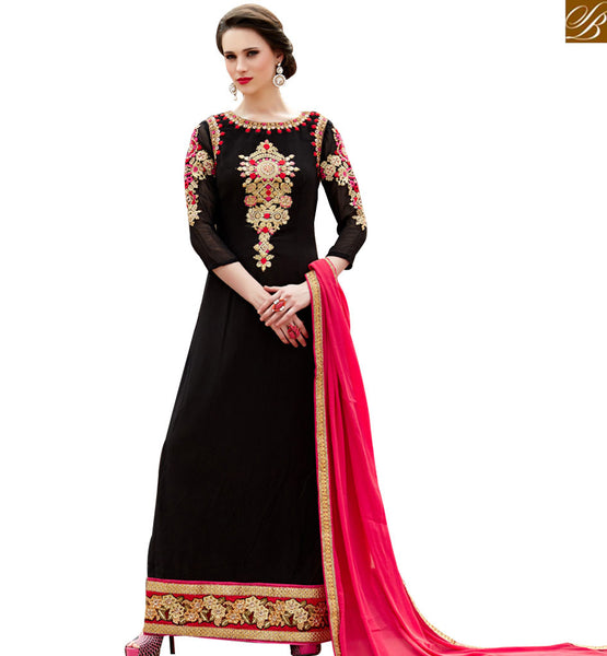 STYLISH BAZAAR LAVISHING BLACK & PINK COLORED INDIAN SALWAR KAMEEZ VDSHB10718