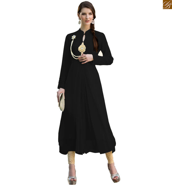Designer kurtis online shopping desi fashion clothes for women black pure viscose georgette queen style kurti with chinese collar, designer buttons and stylish sleeves Image