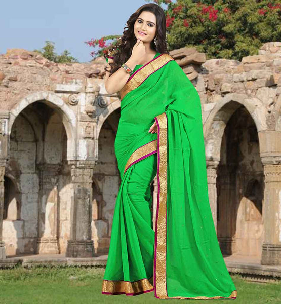DAZZLING GREEN CHIFFON SAREE  WITH STONE WORK AND LACE BORDER