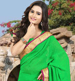 DAZZLING GREEN CHIFFON SAREE  WITH STONE WORK AND LACE BORDER WONDERFUL  DAILY WEAR SARI WITH  MATCHING BLOUSE