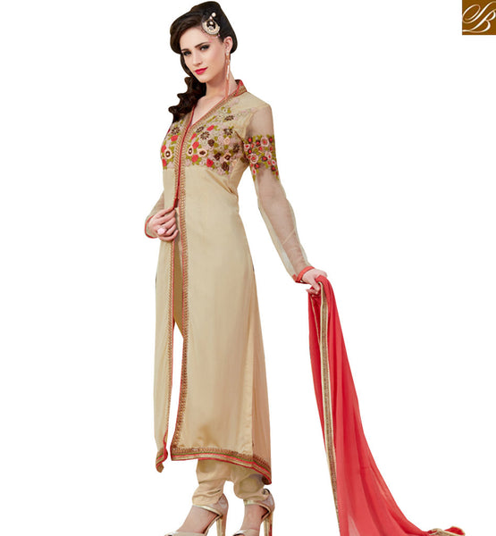 STYLISH BAZAAR IDEAL BEIGE & PINK COLORED DESIGNER SALWAR SUIT VDSHB10720