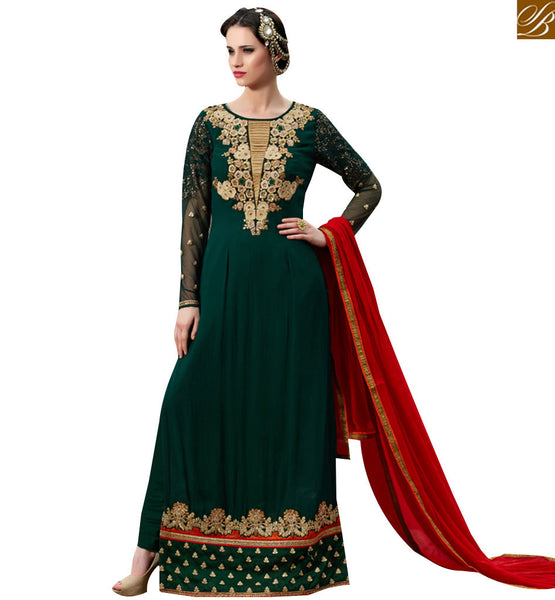 STYLISH BAZAAR STRIKING GREEN & RED COLORED INDIAN DESIGNER SALWAR KAMEEZ VDSHB10721