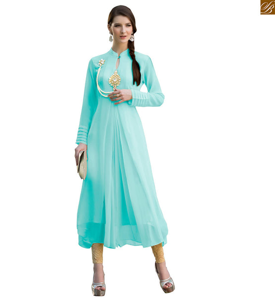 Long kurtis designs good-looking designer long frocks style sky-blue pure viscose georgette different cut style kurti and new generation stylish neck line designs Image