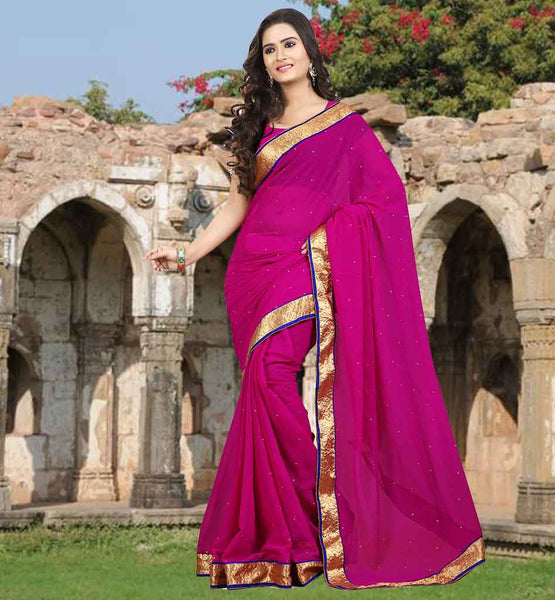 CASUAL SAREE WITH BLOUSE ONLINE SHOPPING IN INDIA PERFECT PINK CHIFFON SAREE WITH LACE BORDER AND STONES ALL OVER