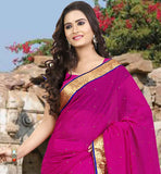 PERFECT PINK CHIFFON SAREE WITH LACE BORDER AND STONES ALL OVER FABULOUS  SAME COLOR SAREE BLOUSE COMBINATION