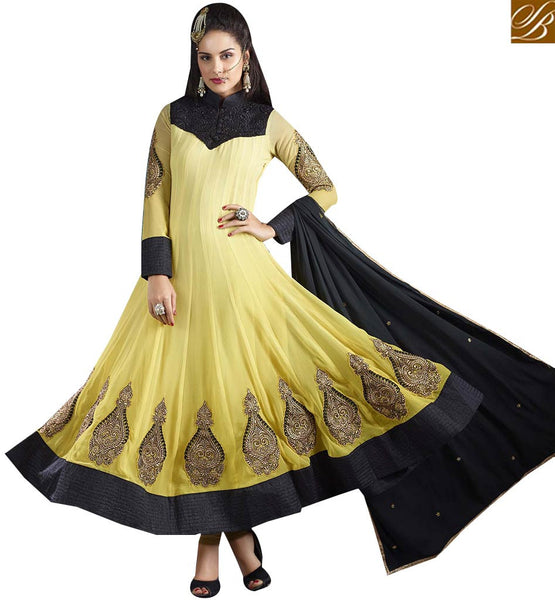 STYLISH BAZAAR GORGEOUS YELLOW & BLACK COLORED DESIGNER SALWAR KAMEEZ VDJSE10732