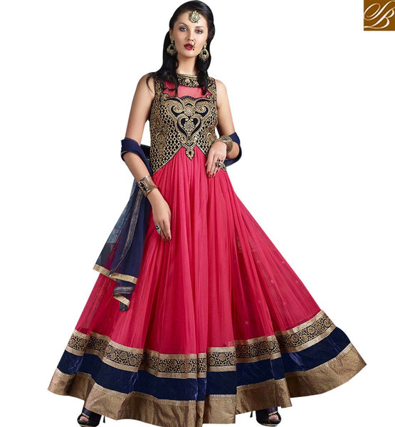 STYLISH BAZAAR EYE CATCHING PINK COLORED BEAUTIFUL DESIGNER SUIT VDJSE10733