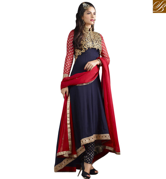 STYLISH BAZAAR IDEAL NAVY BLUE COLORED DESIGNER PARTY WEAR SUIT VDJSE10734