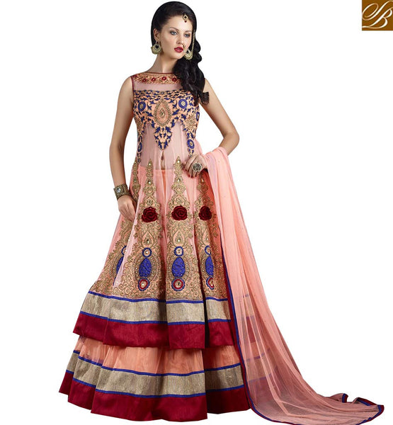 STYLISH BAZAAR ATTRACTIVE LIGHT PEACH COLORED DESIGNER LEHENGHA VDJSE10735
