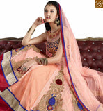 A STYLISH BAZAAR PRESENTATION ATTRACTIVE LIGHT PEACH COLORED DESIGNER LEHENGHA VDJSE10735