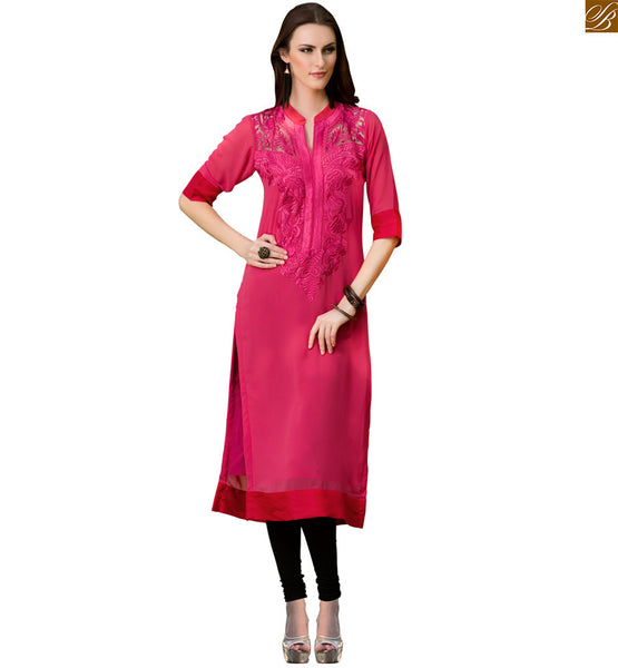 Indian long kurtis designer georgette latest tops collection pink pure viscose georgette heavy floral embroidery work at neck line on kurti and short sleeves Image