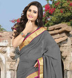 EXCEPTIONAL CORPORATE WEAR CLOTHING FOR MODERN INDIAN WOMEN GLORIOUS GREY CHIFFON FABRIC SAREE WITH MATCHING BLOUSE