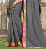 GLORIOUS GREY CHIFFON FABRIC SAREE WITH MATCHING BLOUSE SAREE DRESSING CONCEPT FOR OFFICE GOING WOMEN