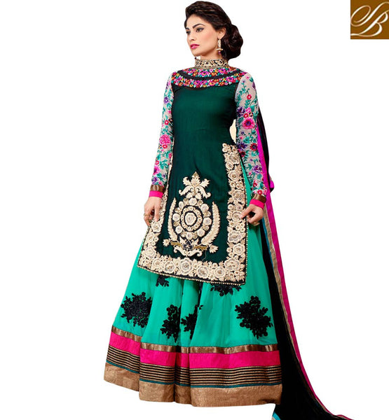 BOLLYWOOD LEHENGA CHOLI DESIGNS FOR WEDDING FUNCTION INDIAN MOVIE GIRL PUJA GUPTA DESIGNER LENGHA WITH LONG JACKET
