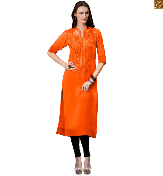 Kurti designs 2015 for girls boutique type long frock style dark-orange short sleeves with patch worked kurti and border line on lower part, high neck collar Image