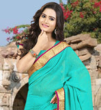 AWESOME NEW SARI COLLECTION FROM STYLISH BAZAAR FOR MODERN INDIAN LADIES TIP-TOP SKY BLUE STONE WORK SAREE WITH BLOUSE AND LACE BORDER WORK