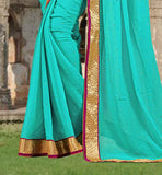 TIP-TOP SKY BLUE STONE WORK SAREE WITH BLOUSE AND LACE BORDER WORK  BLOUSE DESIGNS SAREE IMAGES WITH LACE BORDER