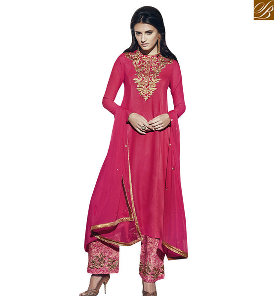 STYLISH BAZAAR BEAUTIFUL PINK COLORED PLAZZO STYLE DESIGNER SUIT VDNRA10754
