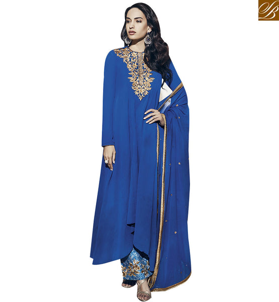 STYLISH BAZAAR ATTRACTIVE BLUE COLORED PLAZZO STYLE SALWAR SUIT VDNRA10755