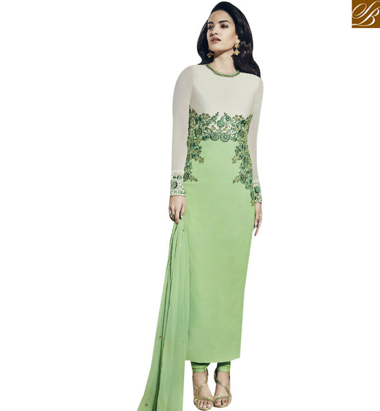 STYLISH BAZAAR STUNNING LIGHT GREEN COLORED DESIGNER SUIT VDNRA10757