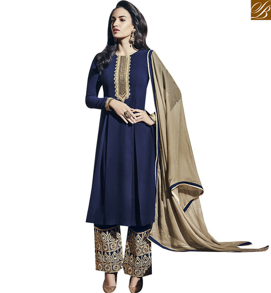 STYLISH BAZAAR BREATHTAKING NAVY BLUE COLORED PLAZZO STYLE SALWAR SUIT VDNRA10758