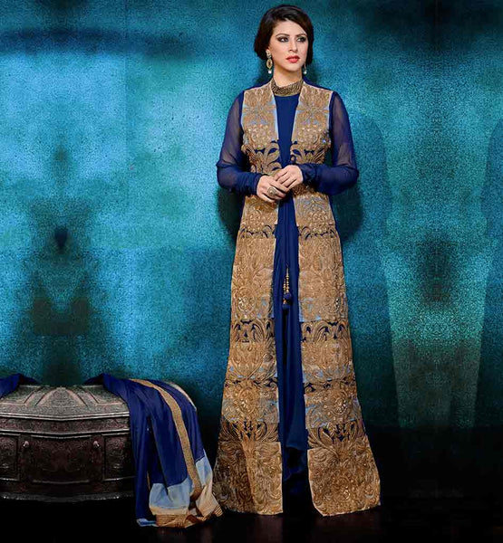 JACKET STYLE ANARKALI DRESSES ONLINE SHOPPING BLUE AND BEIGE GEORGETTE DRESS WITH SANTOON SALWAR AND CHIFFON DUPATTA