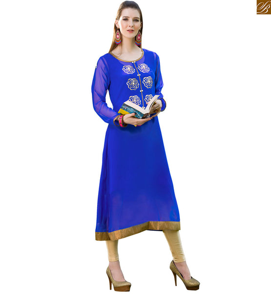 Latest kurtis pattern of trendy looking designer indian outfits blue pure viscose georgette rose floral style kurti with piping patch work on neck line Image