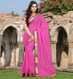 CASUAL SAREES ONLINE BUYING IN UK AT BEST RATES BRILLIANT PINK CHIFFON SAREE WITH MATCHING BLOUSE PIECE