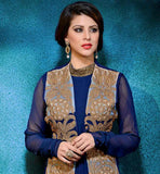 BLUE AND BEIGE GEORGETTE DRESS WITH SANTOON SALWAR AND CHIFFON DUPATTA This suit has Golden color Heavy sequence & embroidery work on all over the
