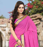 BRILLIANT PINK CHIFFON SAREE WITH MATCHING BLOUSE PIECE SAREE COVERED WITH STONE WORK ON ALL OVER THE SAREE AND COPPER COLOR FLORAL ZARI LACE BORDER WORK