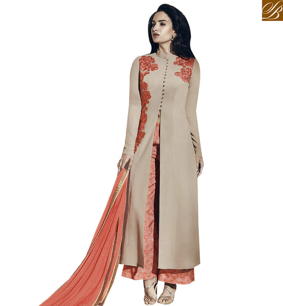 STYLISH BAZAAR GOOD LOOKING BEIGE COLORED PLAZZO STYLE SALWAR SUIT VDNRA10761