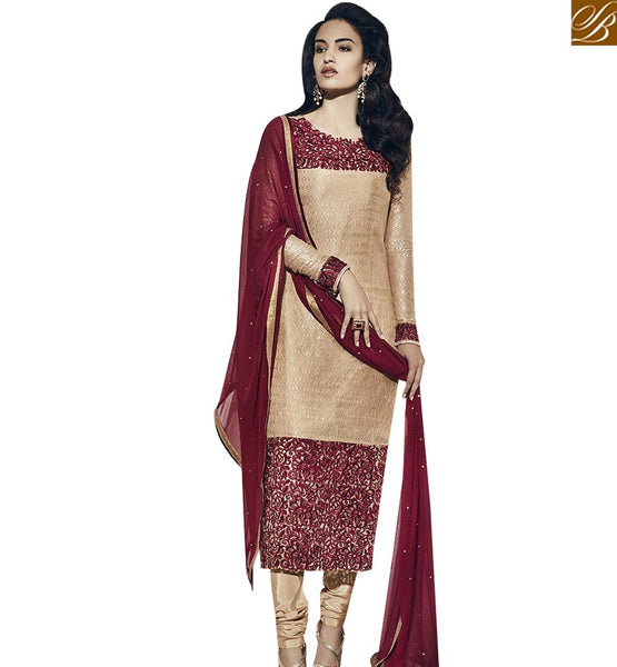 STYLISH BAZAAR EYE CATCHING BEIGE COLORED DESIGNER SUIT VDNRA10762