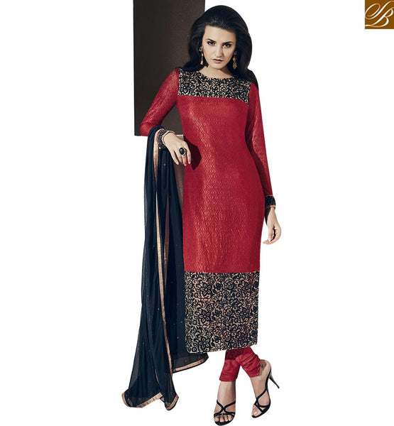 STYLISH BAZAAR RICH LOOKING RED COLORED SUIT WITH EMBROIDERY WORK VDNRA10763