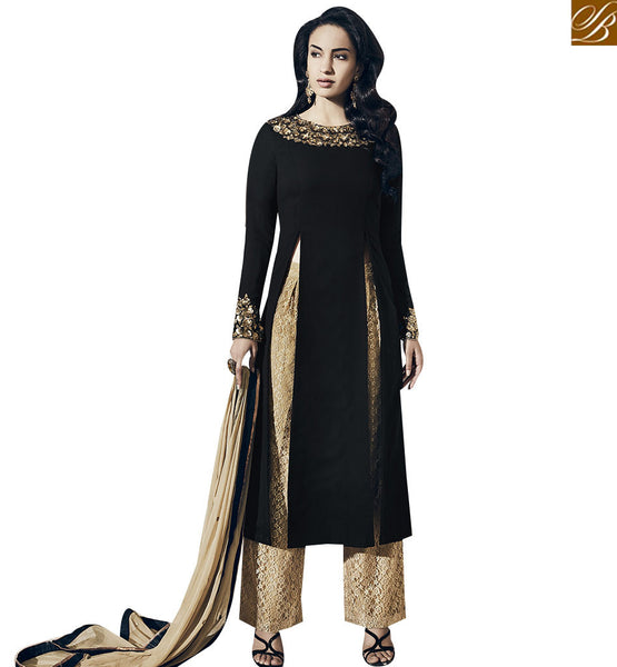 STYLISH BAZAAR STRIKING BLACK COLORED DESIGNER SUIT WITH SLIT CUT VDNRA10764