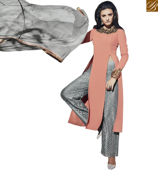 STYLISH BAZAAR REMARKABLE ORANGE & GREY COLORED SUIT WITH SLIT CUT VDNRA10765