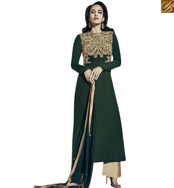 STYLISH BAZAAR GLAMOROUS GREEN COLORED PLAZZO STYLE SALWAR SUIT VDNRA10766
