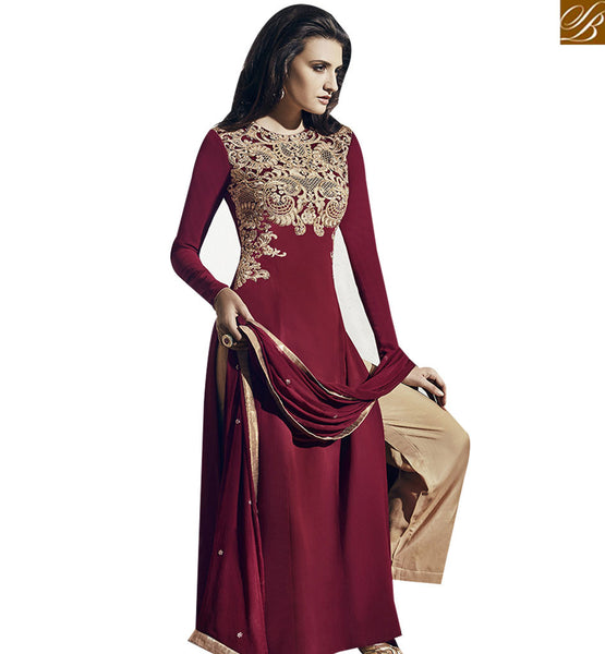 STYLISH BAZAAR ASTONISHING MAROON COLORED DESIGNER SUIT VDNRA10767