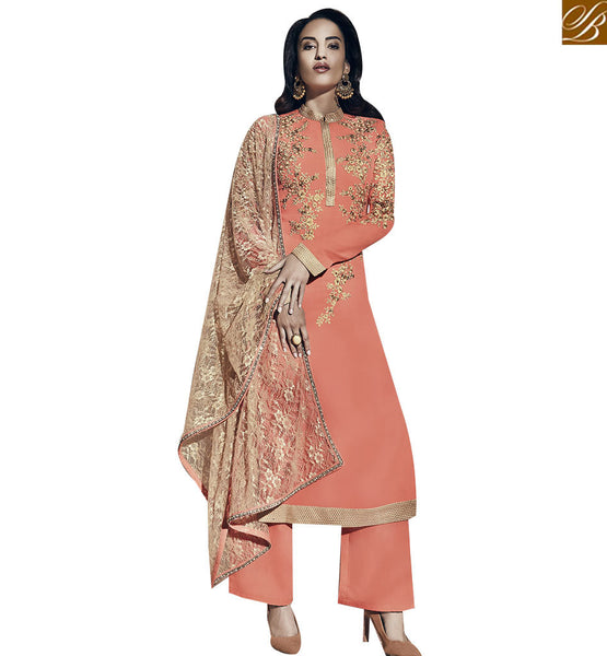 STYLISH BAZAAR IDEAL ORANGE COLORED GEORGETTE SALWAR KAMEEZ VDNRA10768